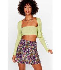 womens let's grow wild floral mini skirt - purple