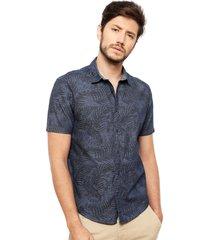 camisa esprit casual azul - calce regular