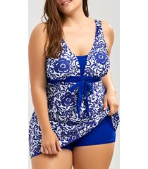 paisley and floral plus size skirted swimsuit