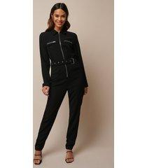 donnaromina x na-kd belted zip detail jumpsuit - black