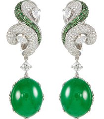 diamond garnet jade 18k white gold drop earrings