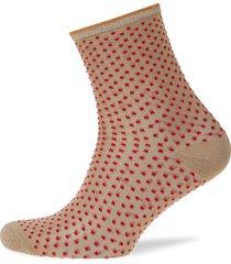dina small dots lingerie hosiery socks röd becksöndergaard