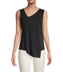 donna karan new york women's asymmetrical v-neck top - black - size s
