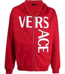 zipped split logo hoodie