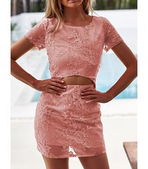 yoins pink floral lace cutout waist criss-cross back two piece mini dress