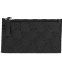 men's gucci avel embossed leather card case - black