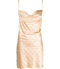 giuseppe di morabito crystal-embellished cowl-neck dress - neutrals