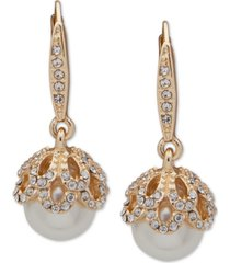 anne klein gold-tone pave & imitation pearl drop earrings