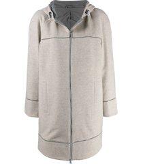 brunello cucinelli straight fit coat - neutrals