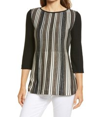 ming wang stripe knit tunic, size large in java/linen/black at nordstrom