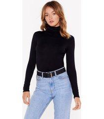 womens what in the turtleneck black high-leg bodysuit