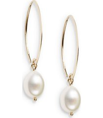 10mm white oval freshwater pearl & 14k yellow gold drop earrings
