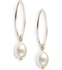 10mm white oval freshwater pearl & 14k yellow gold drop earrings