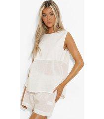 tall linnen look pyjama set met top met rug strik en shorts, white