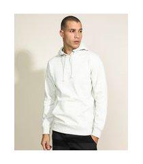 blusão de moletom masculino básico com capuz off white