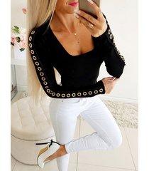 crochet lace embellished square cuello camiseta de manga larga