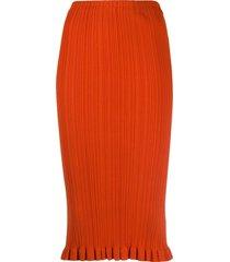 acne studios ribbed knit midi skirt - orange