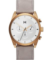 mvmt men's chronograph bronze ore gray leather strap watch 44mm