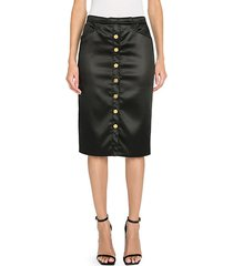 stretch satin button-front midi skirt