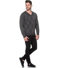 suéter passion tricot jacar grafite - kanui