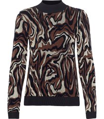 marble jacquard knit stickad tröja brun scotch & soda