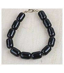 recycled glass beaded bracelet, 'black alewa' (ghana)
