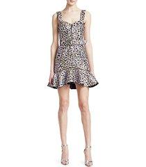 lamé leopard jacquard bustier ruffle dress