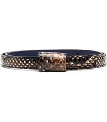 marni snake-print thin belt - neutrals