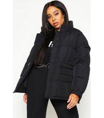 plus gewatteerde jas met zak detail en hoge kraag, zwart