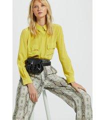 camisa de seda básica com bolsos amarela amarelo yoko - 36