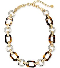 "alfani two-tone & tortoise-look chain link collar necklace, 17"" + 2"" extender, created for macy's"