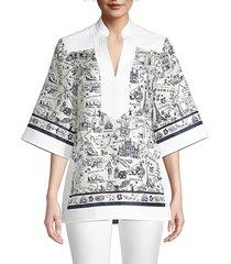 tory burch women's travel printed silk tunic - navy white - size 2