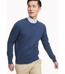 tommy hilfiger men's essential crewneck sweater deep navy heather - xxl