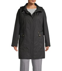 cole haan women's hooded packable jacket - black - size 1x (14-16)