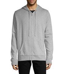 zadig & voltaire men's moss zip-up cotton-blend hoodie - noir - size l