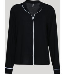 camisa de pijama feminina listrada manga longa preto