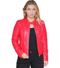 chaqueta ecocuero roja todopiel