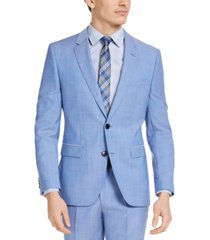 hugo men's modern-fit light blue solid wool suit jacket