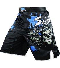 pantaloneta hombre suotf mma calavera muay thai boxeo 12038 azul
