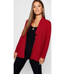 petite notch detail oversized blazer, wine