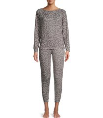 tart women's sienna 2-piece leopard sweatshirt & joggers set - constellation - size s