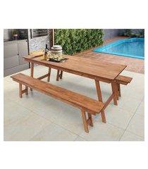 conjunto mesa para churrasco com bancos em madeira maciça magazine decor - jatobá