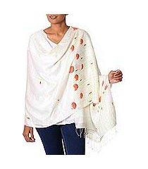 silk blend shawl, 'red poppy dream' (india)