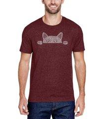 men's premium blend word art peeking cat t-shirt