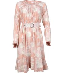 belted floral silk dress