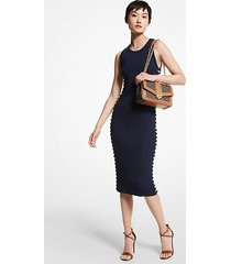mk abito in viscosa stretch a coste con lacci - midnightblue - michael kors