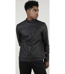 jaqueta biker masculina com fivela e bolsos marrom escuro
