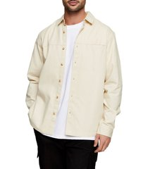 men's topman slim fit twill button-up shirt, size large - ivory