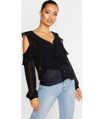 chiffon cold shoulder ruffle top, black
