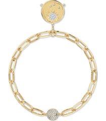 swarovski gold-tone crystal sun/passionate fire medallion magnetic link bracelet